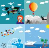 Icons set of travelling, — Stock Vector
