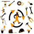 Industrial worker icon — Stock Vector