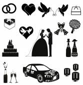 Wedding Icons and Silhouettes — ストックベクタ