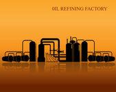 Oil refinery silhouette. — Stock Vector