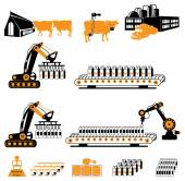 Milk farm set — Stock Vector