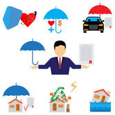 Insurance  for property icons — Stock Vector