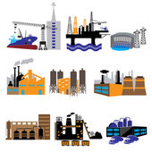 Factory and power plants icon set — Stock Vector