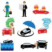 Insurance property icons set — Stock Vector
