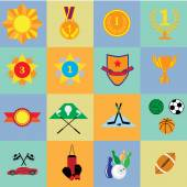 Sport and prize icons — Vector de stock