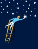 Reaching the stars with a ladder — Vettoriale Stock