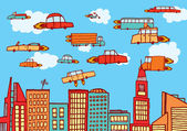 Future cars flying over the city — Stock Vector
