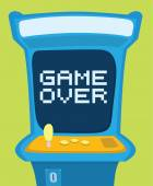 Arcade machine showing game over message — Stock Vector