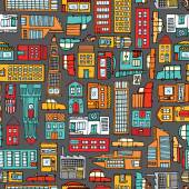 Seamless pattern background of cartoon city — Stock Vector
