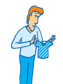 Man holding a tiny shirt — Stock Vector