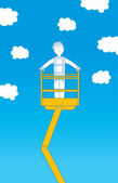 Worker ascending up to the sky on crane — Stock Vector