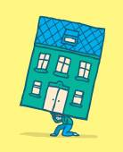 Stressed man moving his house on his back — Stock vektor