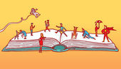 Diverse characters playing over open book — Wektor stockowy