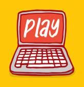 Laptip computer with play word on screen — Vetor de Stock