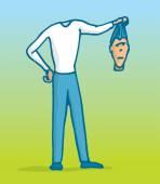 Beheaded man lost his head — Stock Vector