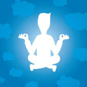 Enlightened yoga silhouette of man floating — Stock Vector