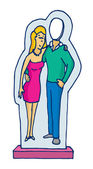 Cardboard stand up couple figure with missing man — Stock Vector