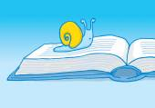 Slow reader or snail crawling on book  — Stockvector