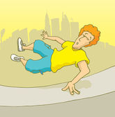 Man practising parkour or freerunning in the city — Stock Vector