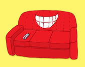 Red couch showing teeth with ironic grin — Stock Vector