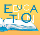 Education word hovering over book — Stockvektor