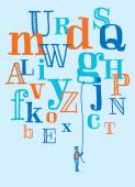 Man holding a floating letter from flying alphabet — Stock Vector
