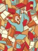 Ragazzo sprofondando nel grande mare di libri — Vettoriale Stock