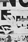 Random collage texture banner on eroded wall — Stock Photo