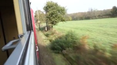 Train travel looking out from the window — Stock Video