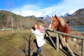 Mother and Baby with  horse  in Pyrenees mountains — Stock Photo