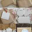 Collection boxes wrapped in recycled paper with label — Stock Photo #54613885