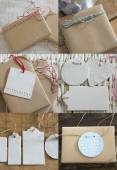 Collection boxes wrapped in recycled paper with label  — Stock Photo