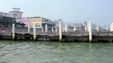 Empty mooring posts at Macau Fishermans Wharf — Stock Video