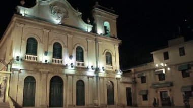 St. Lazarus Portuguese colonial church in Macau at night — Stock Video