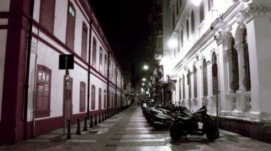 St. Lazarus Quarter area in Macau at night — Stock Video