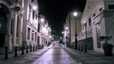 Macau - 22 November 2013: St. Lazarus district area at night — Stock Video