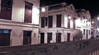 St. Lazarus Quarter district area in Macau at night — Stock Video