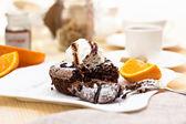 Warm dessert chocolate cake Fondant — Stock Photo
