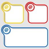 Set of three vector text frames with email symbol — Stock Vector