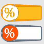 Set of two boxes for any text with percent symbol — Stock Vector