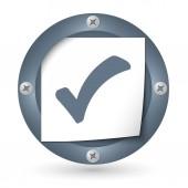 Icono oscuro abstracto con el papel y la casilla de verificación — Vector de stock