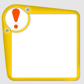Yellow frame for text with screws and exclamation mark — Stock Vector