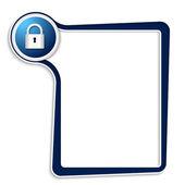 Caixa de texto azul para qualquer texto com cadeado — Vetor de Stock