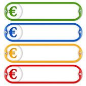 Four frames for entering text with screws and euro — 图库矢量图片
