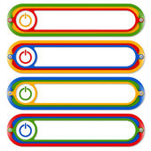 Four colored frames for any text with power button — ストックベクタ