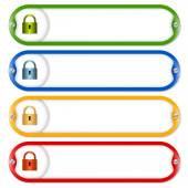 Four frames for entering text with screws and padlock — Stock Vector