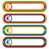 Four colored frames for any text with euro symbol — Stockvector
