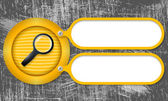 Yellow frames with magnifier and scratched background — Stockvektor