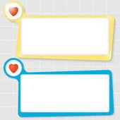 Набор из двух текстовых полей для текста и сердца — Cтоковый вектор