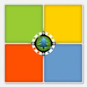 Four colored frames for white text and xmas tree — Cтоковый вектор